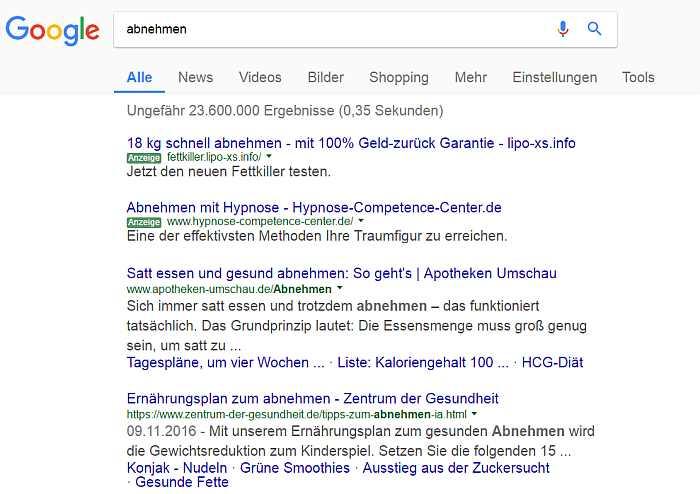 """So sieht z.B. die Ergebnisseite bei Google aus zum Keyword oder Suchbegriff """"abnehmen"""""""