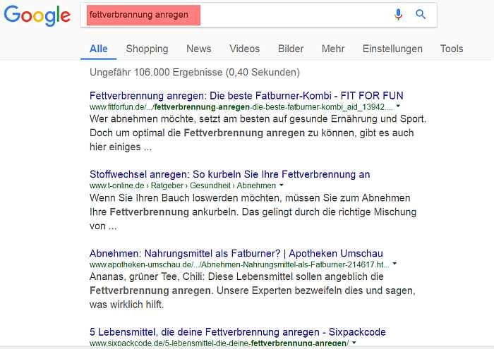 """So sieht z.B. die Ergebnisseite bei Google aus zum Keyword oder Suchbegriff """"fettverbrennung anregen"""""""